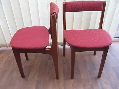 2 x Teak Dining Chairs Curved Back Morris Of Glasgow Clyde Retro  Furniture