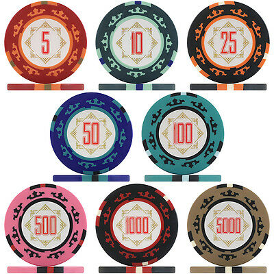 Three Colour Crown Poker Chips & Poker Chip Sets, 14g Clay Composite