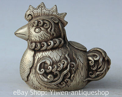 """4"""" Chinese Silver Zodiac Year Cock Rooster Chicken Auspicious Statue Sculpture"""