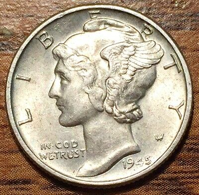 1945 Silver United States Mercury Dime Coin Philadelphia Mint - Uncirculated