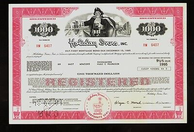 HOTEL CHAIN : Holiday Inns Inc old bond certificate USD 1,000 iss Hugo Magnuson