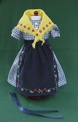 """American Girl 18"""" KIRSTEN Retired ON THE TRAIL CHECK DRESS w SHAWL APRON  REPRO"""