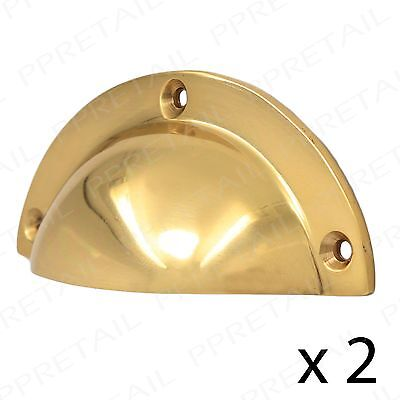 2 x SOLID BRASS 90mm CUP PULL HANDLES Cabinet Cupboard Dresser Drawer Door Shell