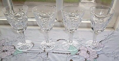 Set Of 4 Waterford Crystal Ashling Claret Wine Glasses