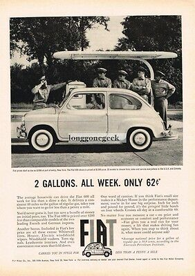 1960 FIAT 600 Driving Past Gas Station 2 Gallons/Week 62 Cents  Vtg Print Ad