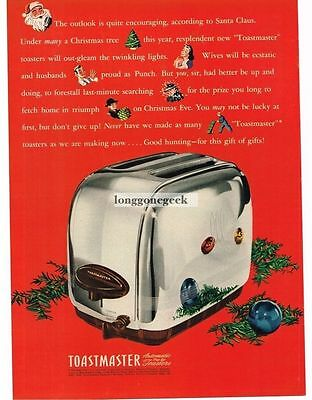 1946 Toastmaster Toaster Automatic Pop-up  Christmas Vtg. Print Ad