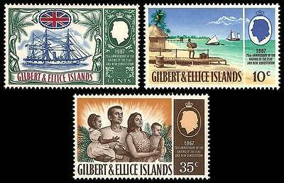 # GILBERT & ELLICE Islands - 1967 - 75° Flag and Constitution - 3 Stamps MNH