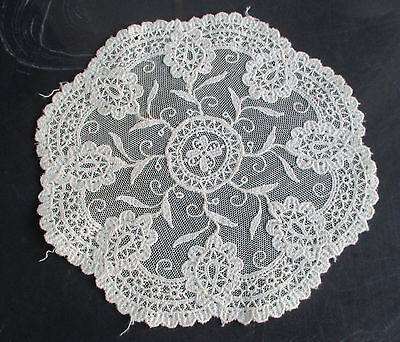 "Vintage Antique Tambour Net Lace Embroidery Doily Delicate Round 8.25"" Wide"