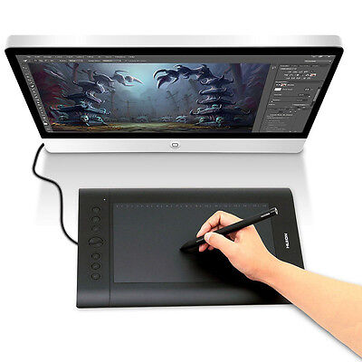 Huion H610 Pro USB Art Graphics Drawing Tablet Cordless Board w/ Rechargable Pen