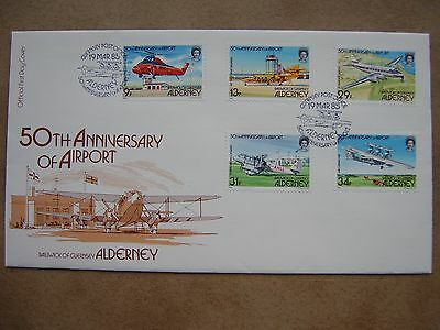 """Alderney Very Fine FDC: 1985 """"50th Anniversary of Airport"""""""