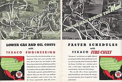 1935 Texaco Motor Oil Ad: Faster Schedules with Texaco Fire-Chief for Bus Fleets