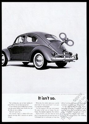 1960 VW Volkswagen Beetle classic car with wind-up key photo vintage print ad