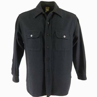 Vintage 30s Naval CPO Shirt Mens 16.5 Union Made Military Wool WWII Navy Blue
