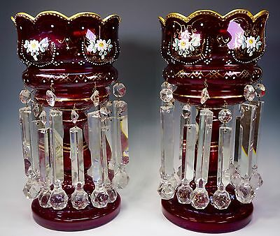"Ruby Glass Enameled Gold 13 5/8"" Tall PAIR Mantle Lusters Lustres Candle Holders"
