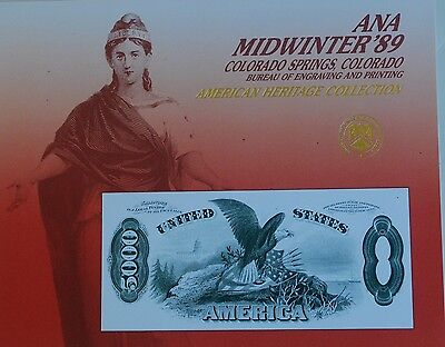 1989 BEP Souviner Card Reverse 5000 Dollar United States Note