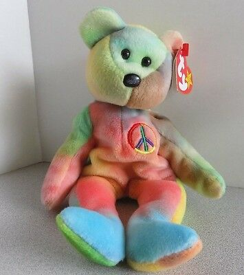 "TY Beanie Babies ""PEACE"" TIE DYE Teddy Bear RETIRED! WITH TAG"