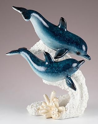 """Pair of Dolphins On Coral Figurine 6.75"""" High Resin Glossy Finish New In Box"""