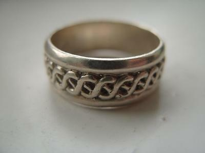 Sterling Silver Modernist Celtic Gents Heavy 8mm Band Ring 6.7g Size R