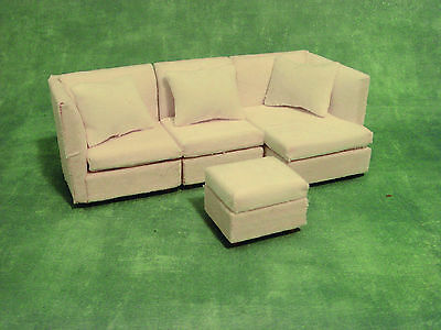 1:12 Scale 4 Piece Corner Sofa - Settee & Foot Stool Dolls House Miniature 996