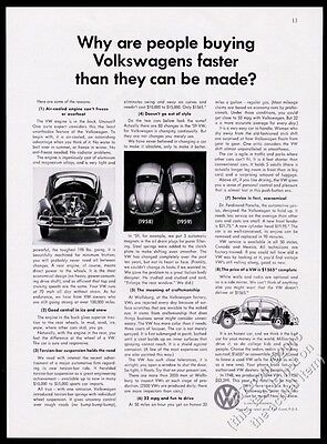 1959 VW Volkswagen Beetle classic car photo and diagram 8x11 vintage print ad