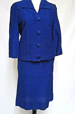 1950s 60s Vintage LA BONNA ORIGINAL BLUE EMBROIDERED JACKIE O 2 PIECE SUIT