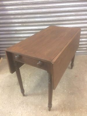Old antique Victorian Pembroke drop leaf table with dummy drawer one end