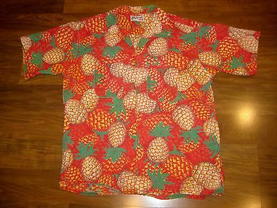 Vtg 60s 70s Mens Large ARC DE TRIOMPHE Pineapple Magnum PI retro Hawaiian Shirt