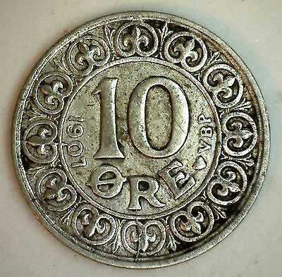 1907 Silver Denmark 10 Ore Coin Currency XF