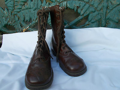 Antique Childs Brown  Leather Boots