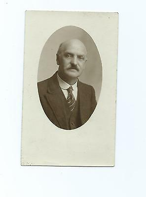 Vintage Sepia Photo Postcard of Unknown Gent with Moustache