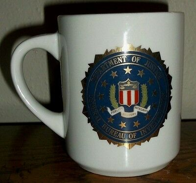 FBI Department of Justice Federal Bureau of Investigation White Coffee Cup/Mug