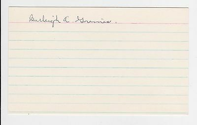 """Burleigh Grimes Autographed 3"""" x 5"""" Index Card"""