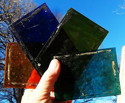 10 - Antique Victorian Stain Glass Panels - From Window or Door