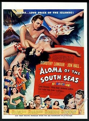 1941 Aloma of the South Seas movie release vintage print ad