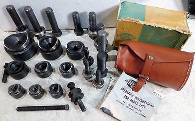 """Greenlee 9 Punch Knockout Set 2"""" thru ½ w/ Case Box Electrician Dies Tools"""