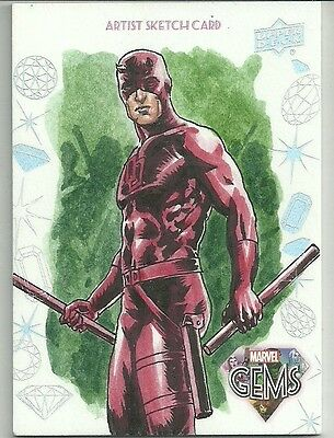 2016 Upper Deck Marvel Gems Base Sketch Card Daredevil by Jim Faustino