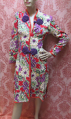 VTG 1940s *SWING-TOWN BOUDOIR Quilted DAISY DECO-PRINT CHINOISERIE ROBE-DRESS
