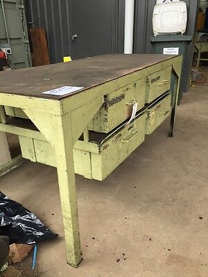 Solid Steel Green Industrial Workbench Bench with Four Under Bench Drawers