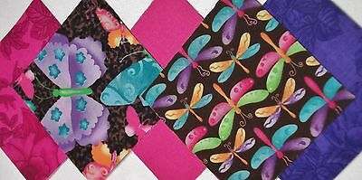 100 Dragonfly & Butterfly Pink Purple 4 inch QUILT COTTON FABRIC SQUARES