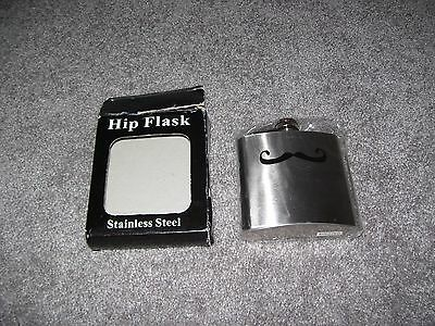 Stainless Steel Moustache Hip Flask New In Box