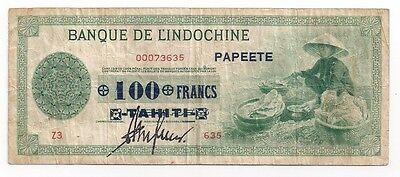 Tahiti 100 Francs on 50 Piastres (1943) FINE P17b