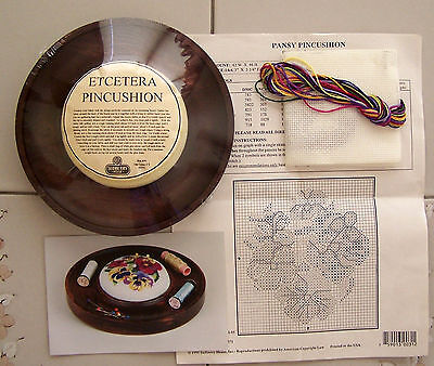"SUDBERRY HOUSE ETC. 7"" Wood PINCUSHION Tray with PANSY Cross Stitch KIT"