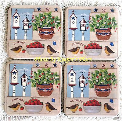 4 Longaberger Dresden Basket Coasters July Strawberries Country NEW