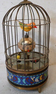 Cloisonne Brass Bird Cage Clock--Animation--Alarm Component-Wind UP-HOLIDAY GIFT