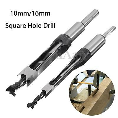 10mm/16mm Square Hole Saw Auger Drill Bit Mortising Chisel Woodworking Tool