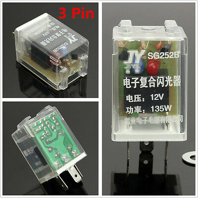 12V 135W 3Pin Car Electronic LED Light Flasher Relay Fix For Turn Signal Blinker