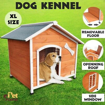 Extra Large Pet Dog Kennel House Timber Wooden Log Cabin Wood Indoor Outdoor