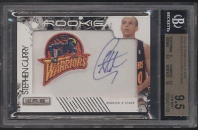 2009-10 Panini Rookies & Stars Stephen Curry Patch RC Rookie Auto /449 BGS 9.5