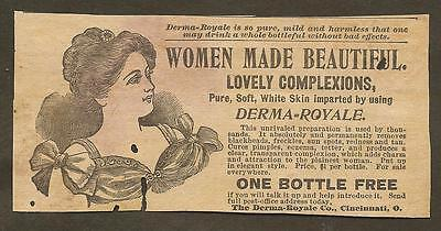 VINTAGE AD FOR DERMA-ROYALE, LATE 1800's