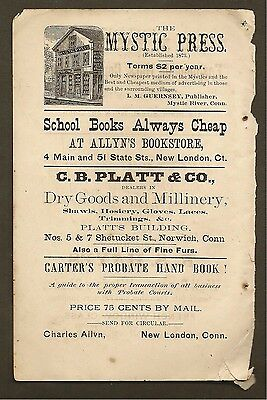 Vintage Ad For The Mystic Press & Charles Allyn Books 1882